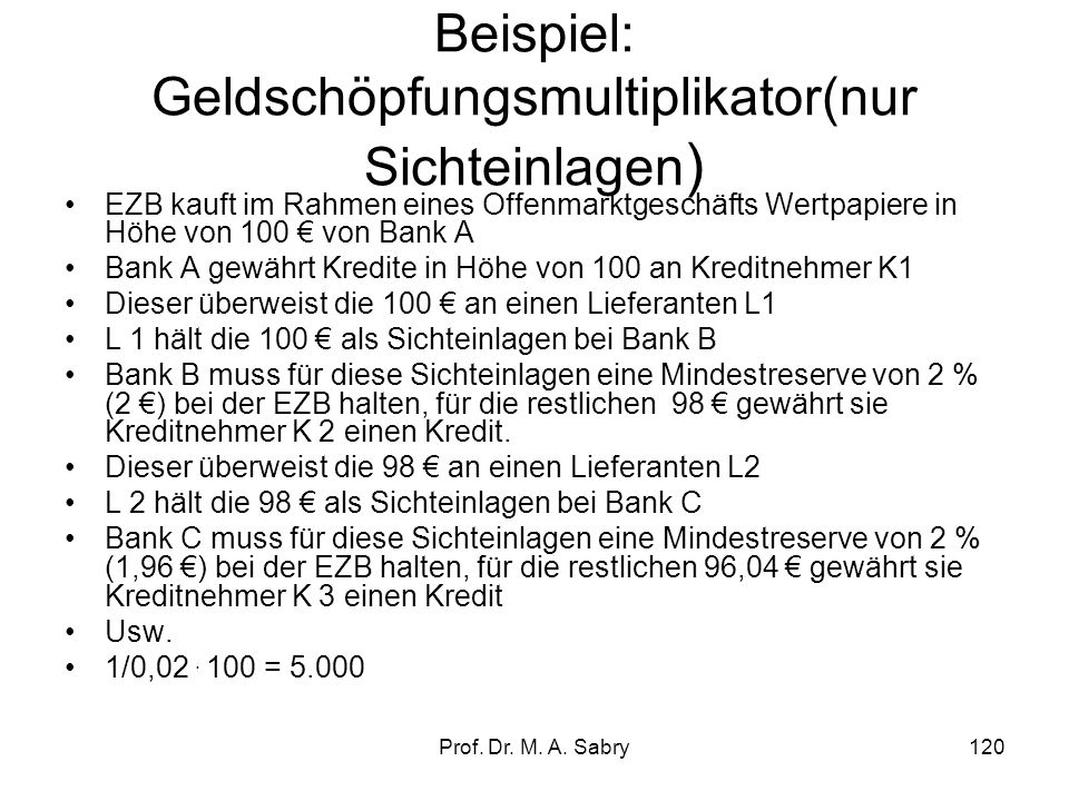 Beispiel: Geldschöpfungsmultiplikator(nur Sichteinlagen)