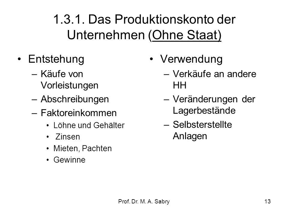 1.3.1. Das Produktionskonto der Unternehmen (Ohne Staat)