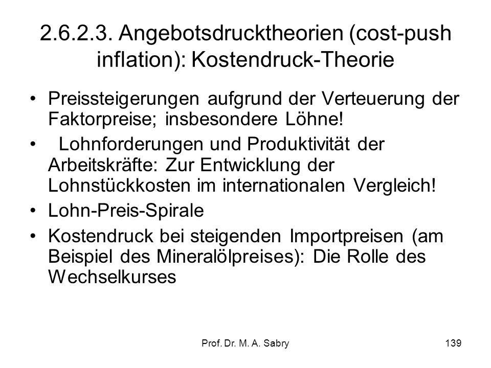 2.6.2.3. Angebotsdrucktheorien (cost-push inflation): Kostendruck-Theorie