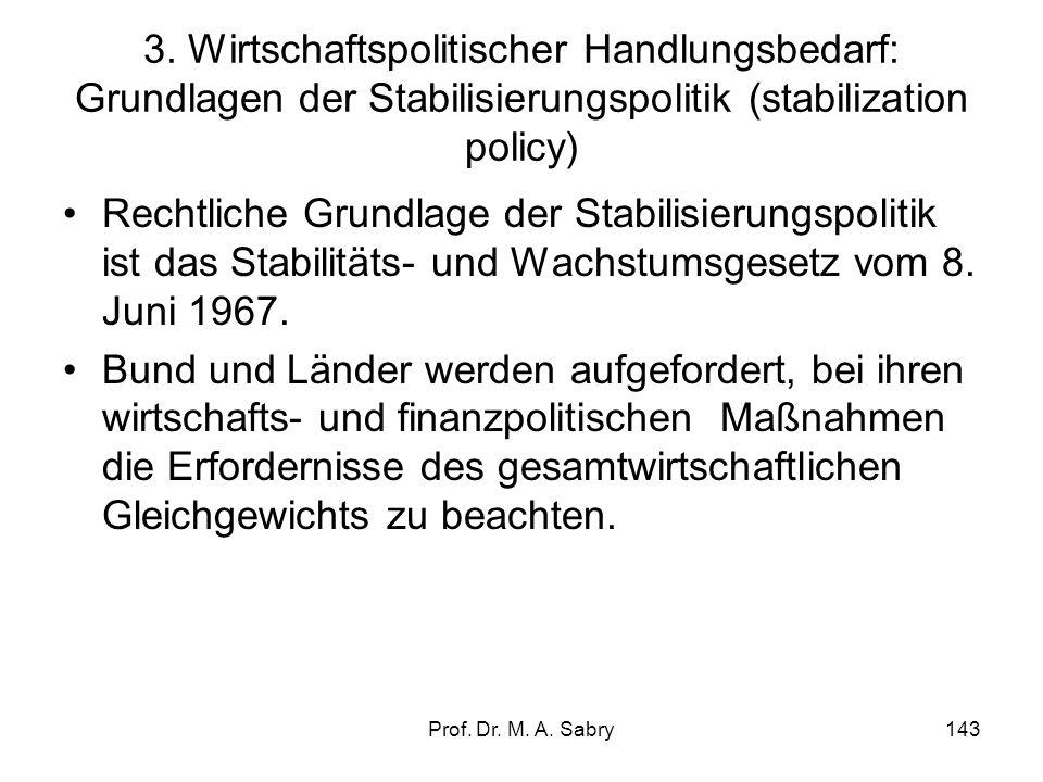 3. Wirtschaftspolitischer Handlungsbedarf: Grundlagen der Stabilisierungspolitik (stabilization policy)