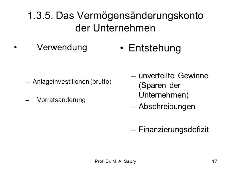 1.3.5. Das Vermögensänderungskonto der Unternehmen