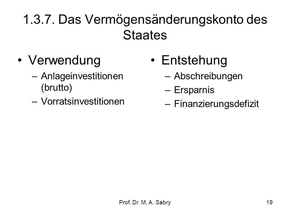 1.3.7. Das Vermögensänderungskonto des Staates