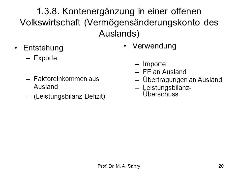 1.3.8. Kontenergänzung in einer offenen Volkswirtschaft (Vermögensänderungskonto des Auslands)