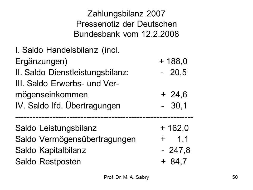 Zahlungsbilanz 2007 Pressenotiz der Deutschen Bundesbank vom 12.2.2008