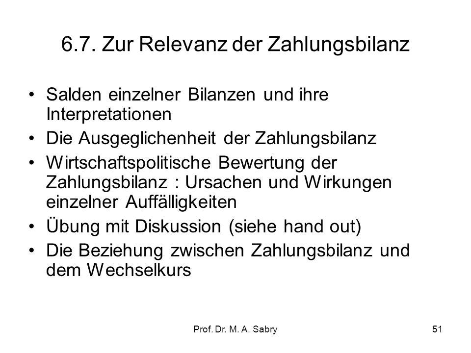 6.7. Zur Relevanz der Zahlungsbilanz