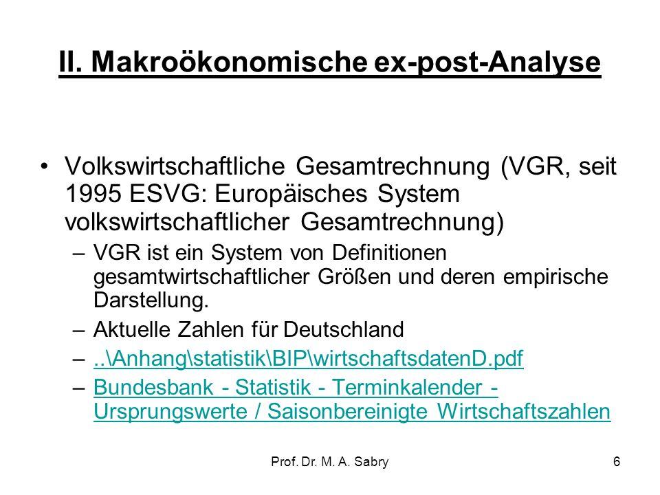 II. Makroökonomische ex-post-Analyse