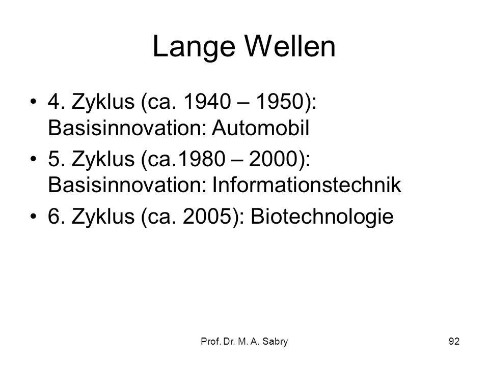 Lange Wellen 4. Zyklus (ca. 1940 – 1950): Basisinnovation: Automobil