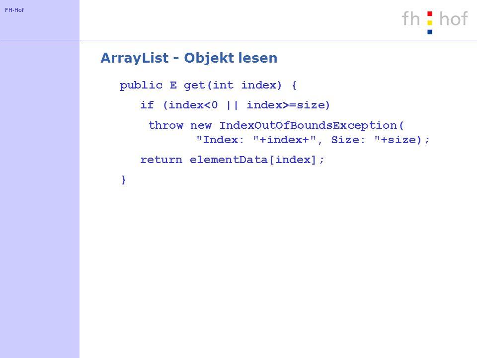ArrayList - Objekt lesen