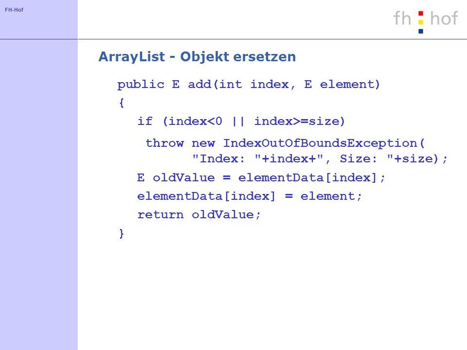 ArrayList - Objekt ersetzen