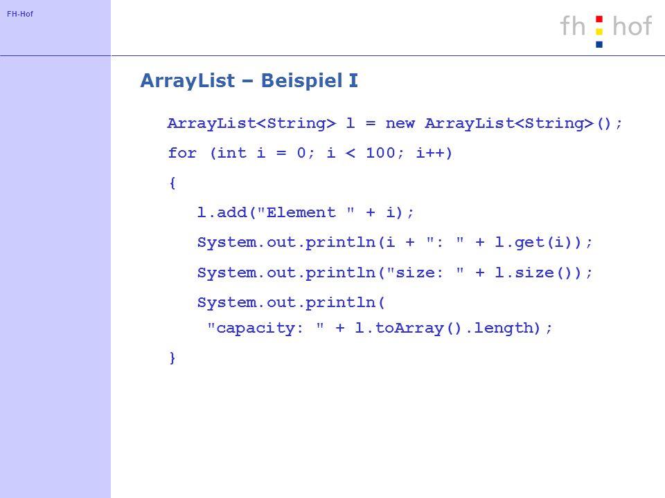 ArrayList – Beispiel I ArrayList<String> l = new ArrayList<String>(); for (int i = 0; i < 100; i++)
