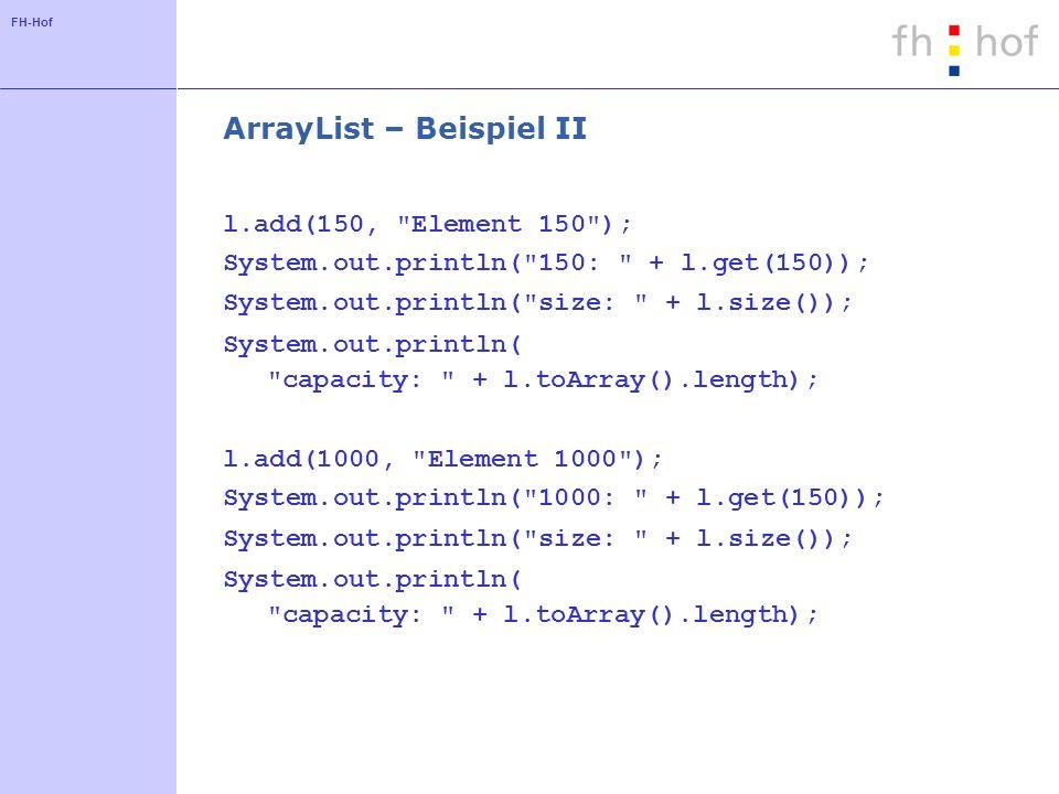 ArrayList – Beispiel II