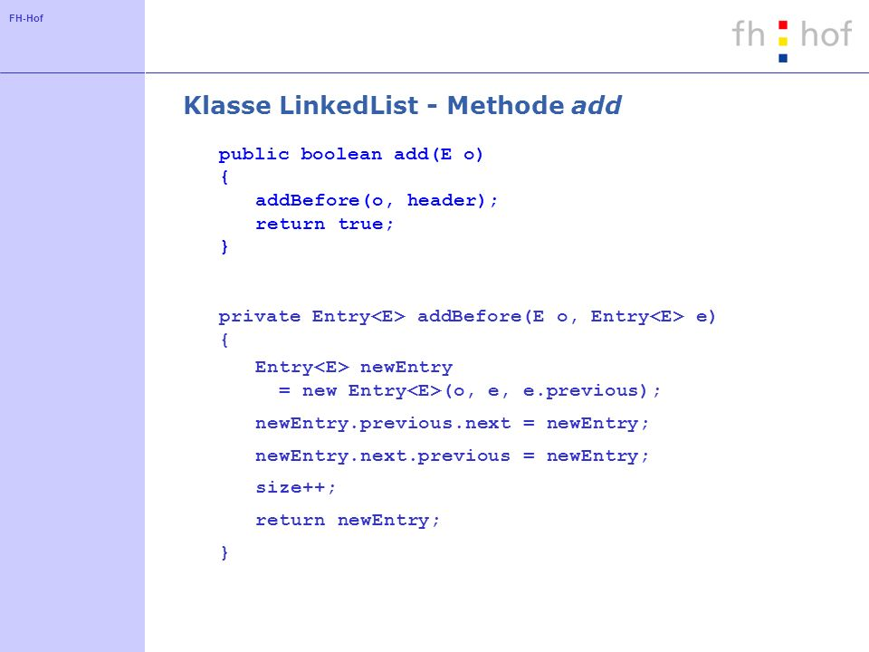 Klasse LinkedList - Methode add
