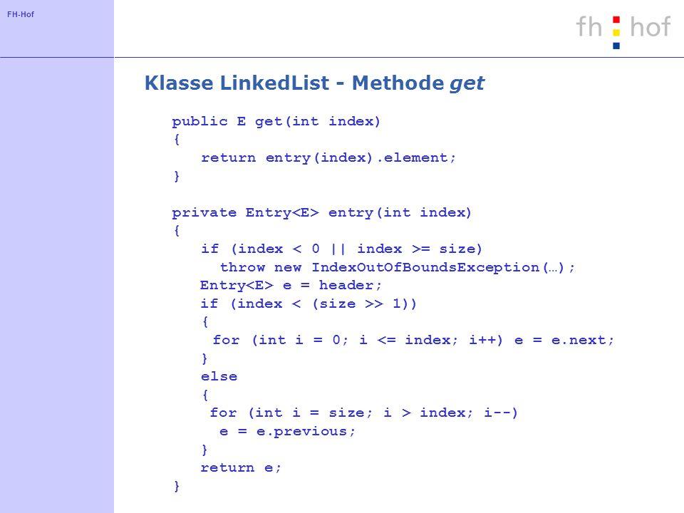 Klasse LinkedList - Methode get
