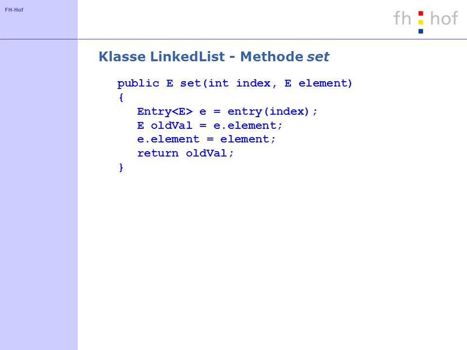 Klasse LinkedList - Methode set