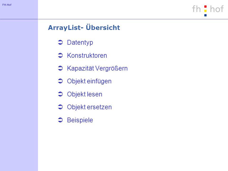 ArrayList- Übersicht Datentyp. Konstruktoren. Kapazität Vergrößern. Objekt einfügen. Objekt lesen.
