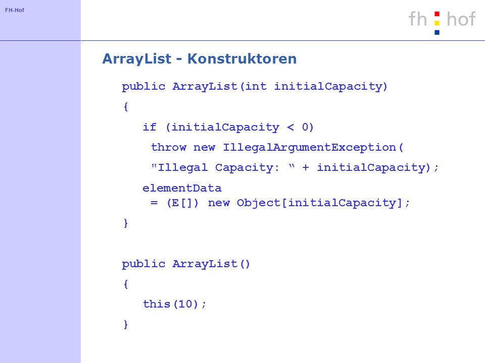 ArrayList - Konstruktoren