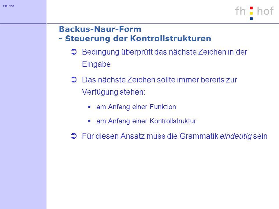 Backus-Naur-Form - Steuerung der Kontrollstrukturen