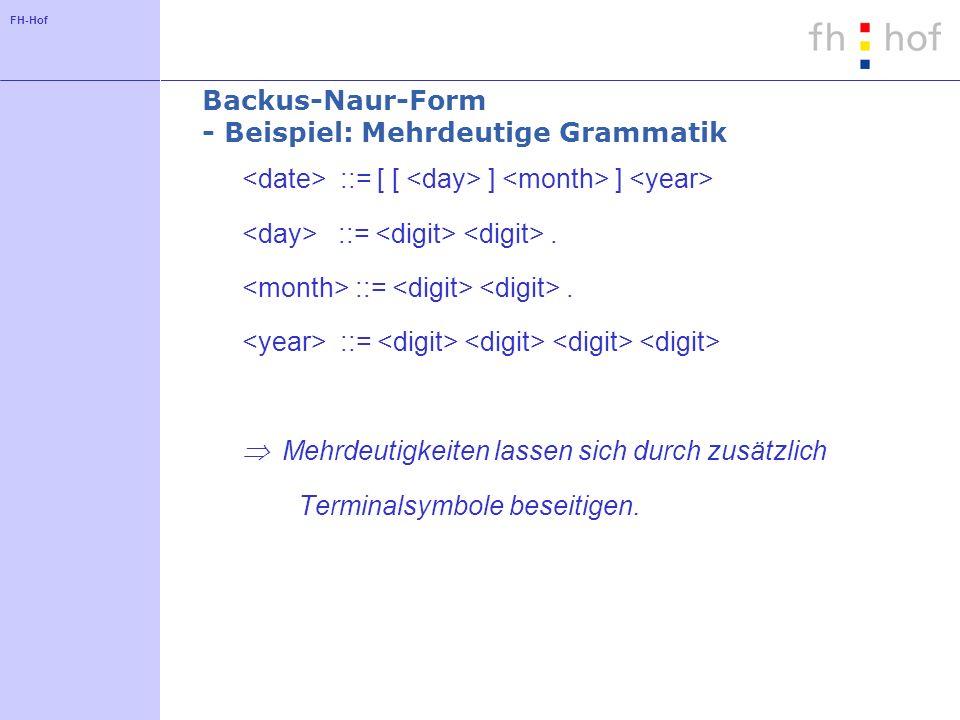 Backus-Naur-Form - Beispiel: Mehrdeutige Grammatik