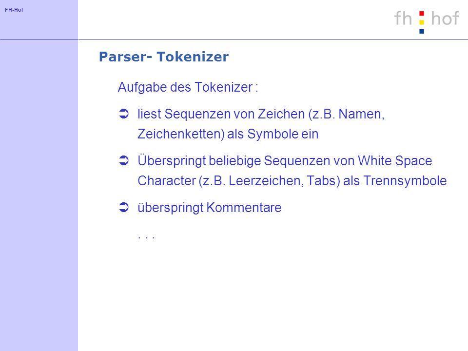 Parser- Tokenizer Aufgabe des Tokenizer : liest Sequenzen von Zeichen (z.B. Namen, Zeichenketten) als Symbole ein.