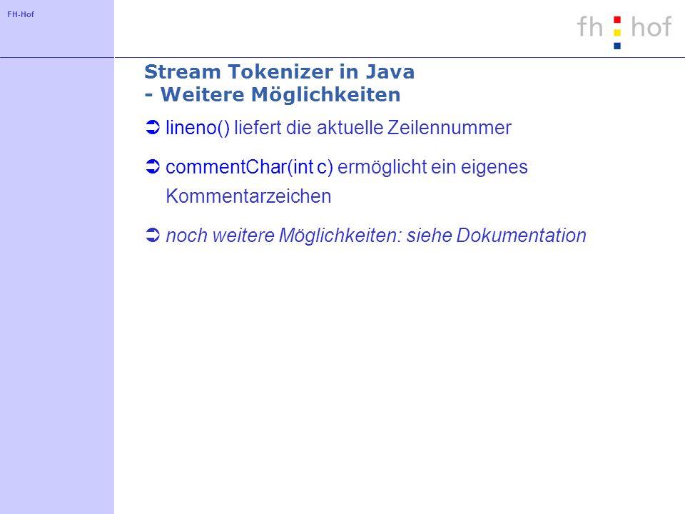 Stream Tokenizer in Java - Weitere Möglichkeiten