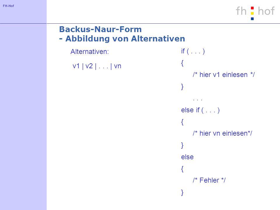 Backus-Naur-Form - Abbildung von Alternativen
