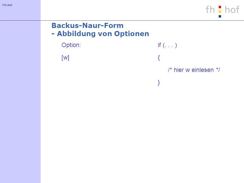 Backus-Naur-Form - Abbildung von Optionen