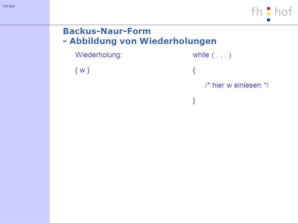 Backus-Naur-Form - Abbildung von Wiederholungen