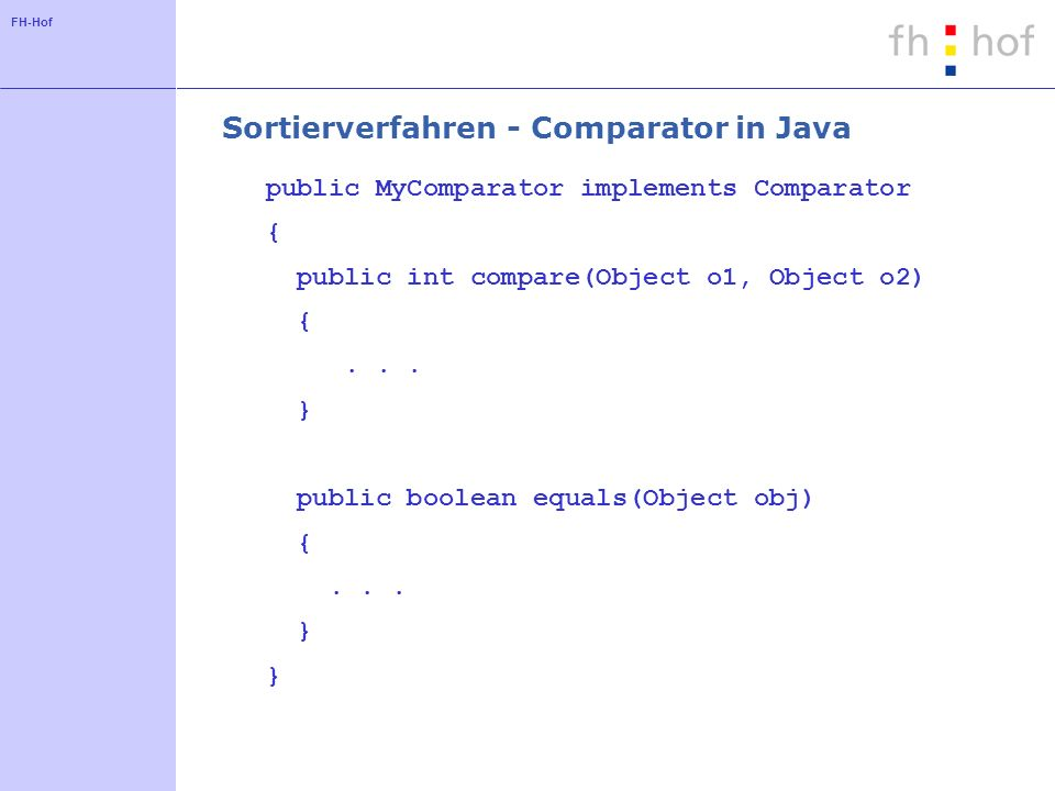 Sortierverfahren - Comparator in Java