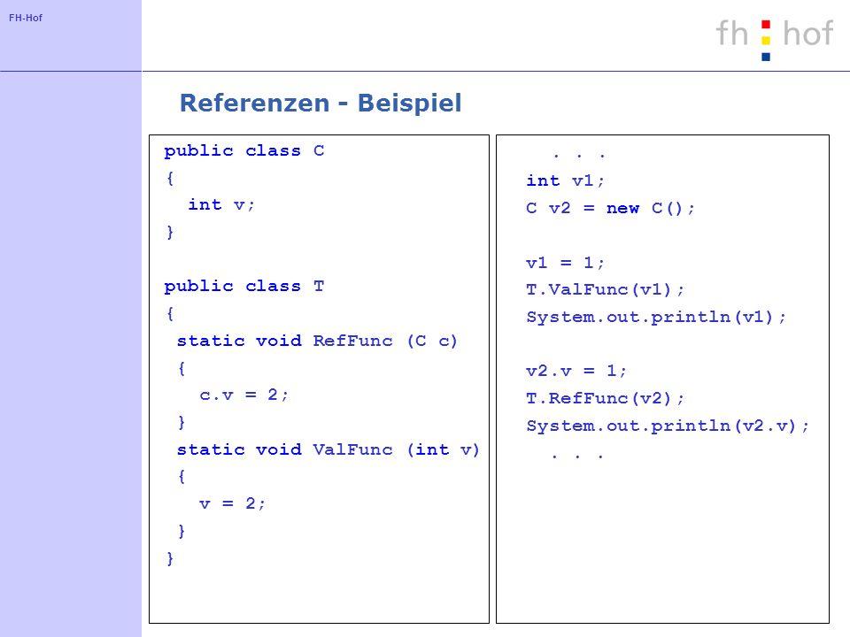 Referenzen - Beispiel . . . public class C { int v1; int v;