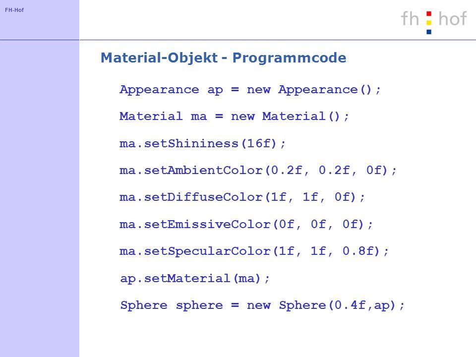 Material-Objekt - Programmcode