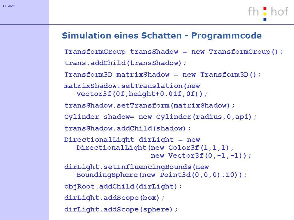 Simulation eines Schatten - Programmcode