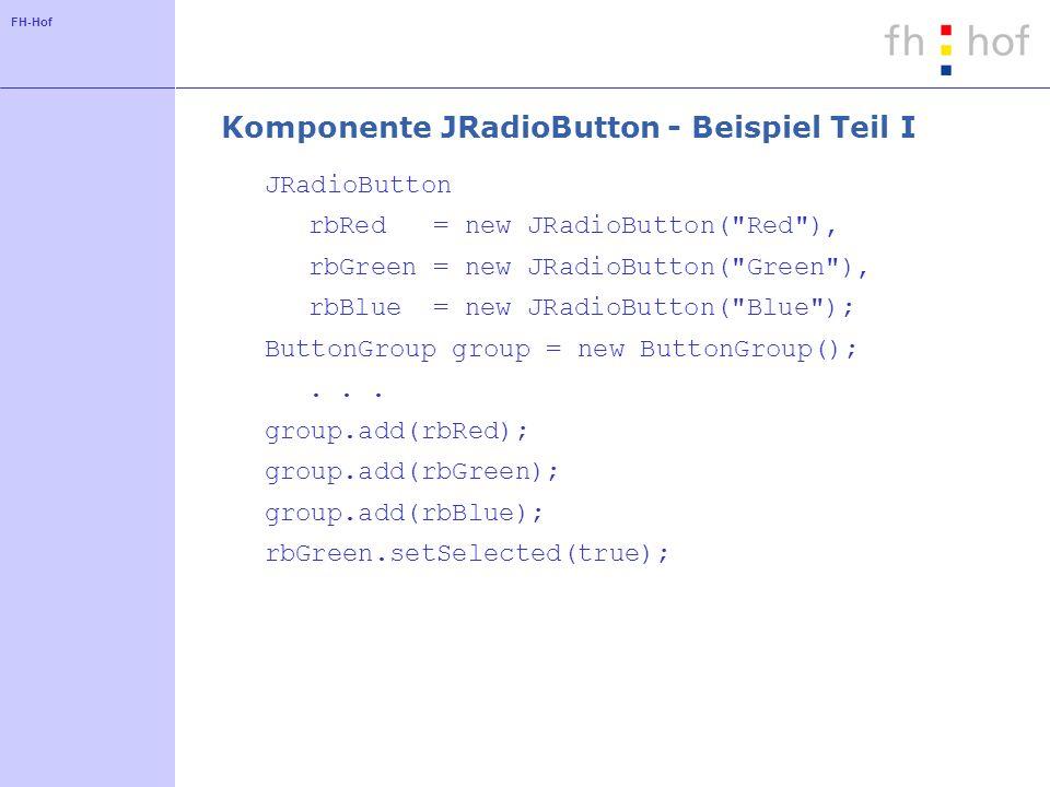 Komponente JRadioButton - Beispiel Teil I