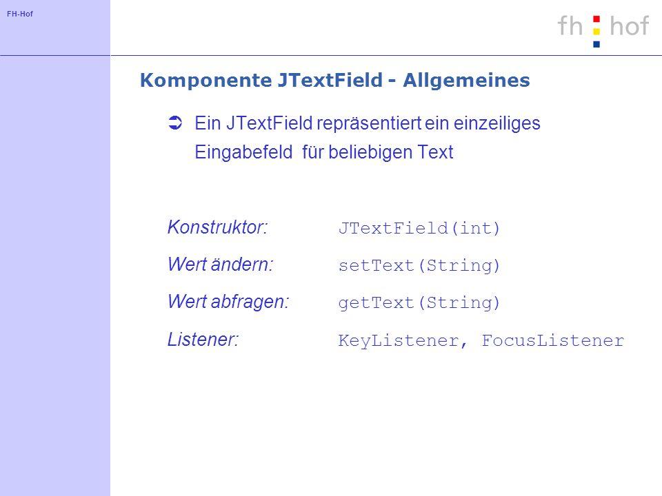 Komponente JTextField - Allgemeines