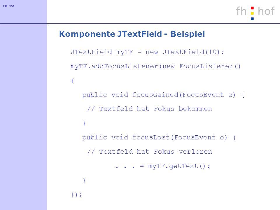 Komponente JTextField - Beispiel