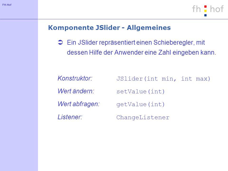 Komponente JSlider - Allgemeines