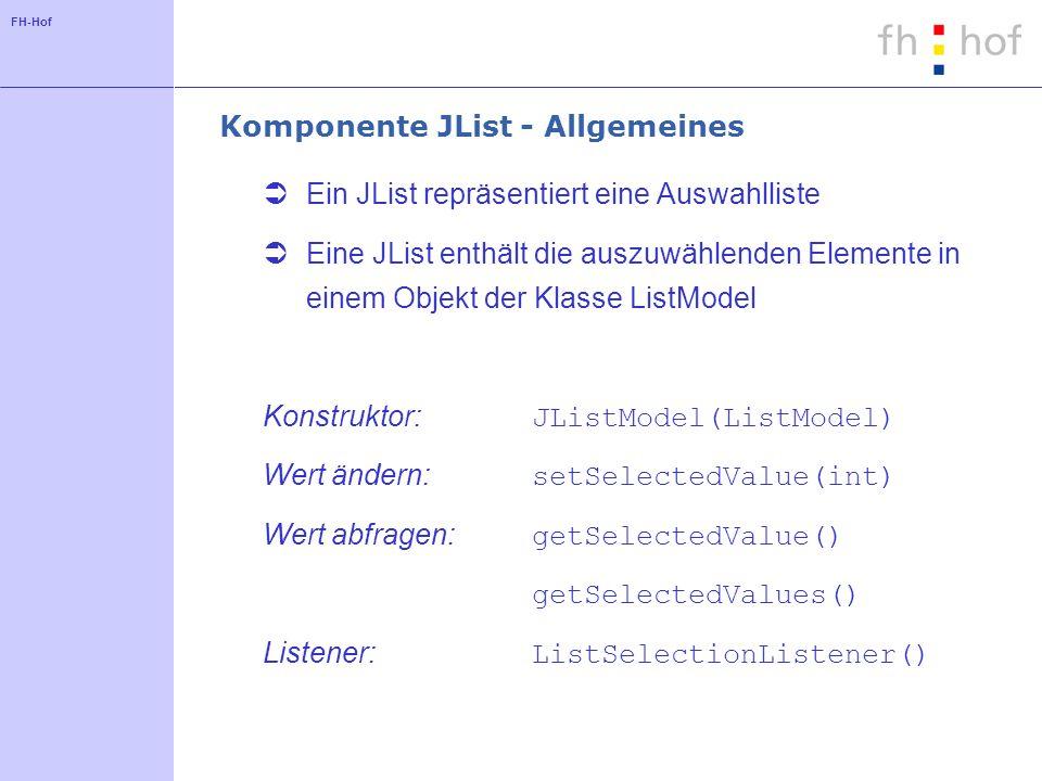 Komponente JList - Allgemeines