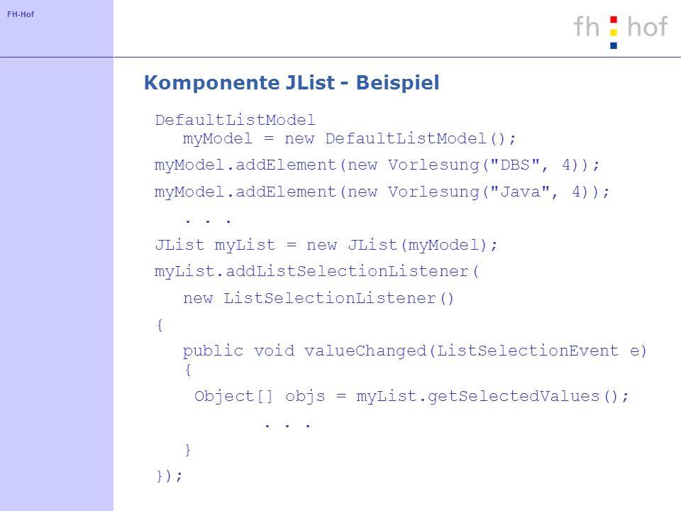 Komponente JList - Beispiel