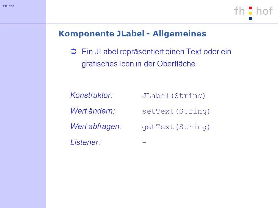 Komponente JLabel - Allgemeines
