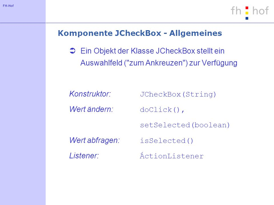 Komponente JCheckBox - Allgemeines