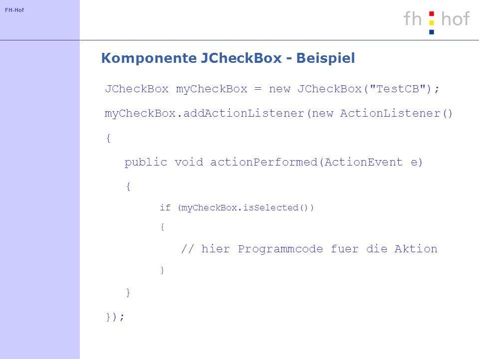 Komponente JCheckBox - Beispiel