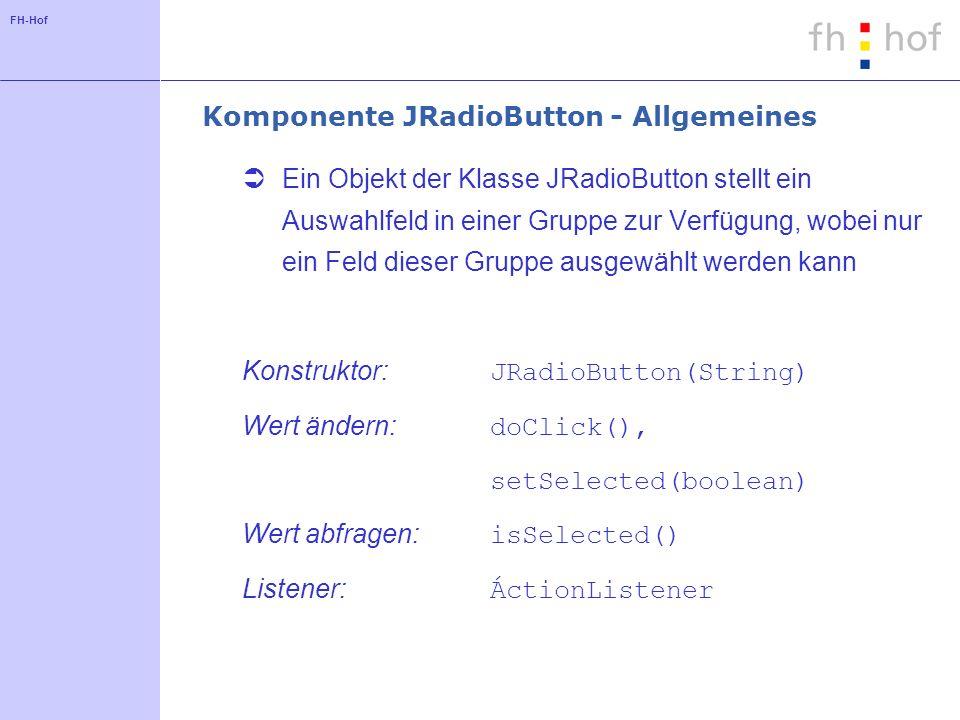 Komponente JRadioButton - Allgemeines