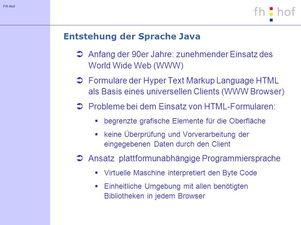 Entstehung der Sprache Java