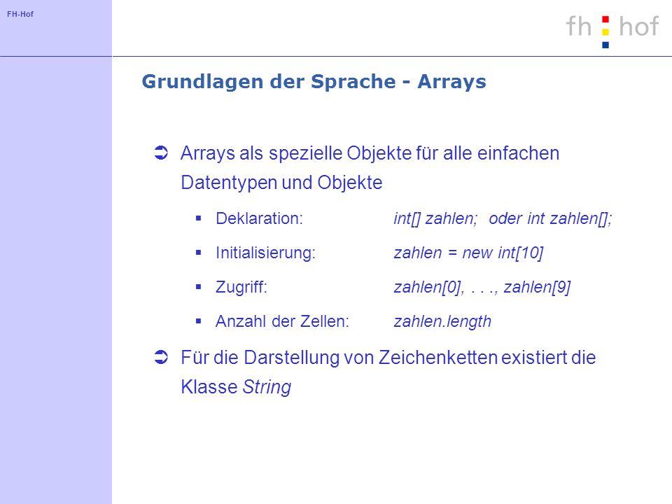 Grundlagen der Sprache - Arrays