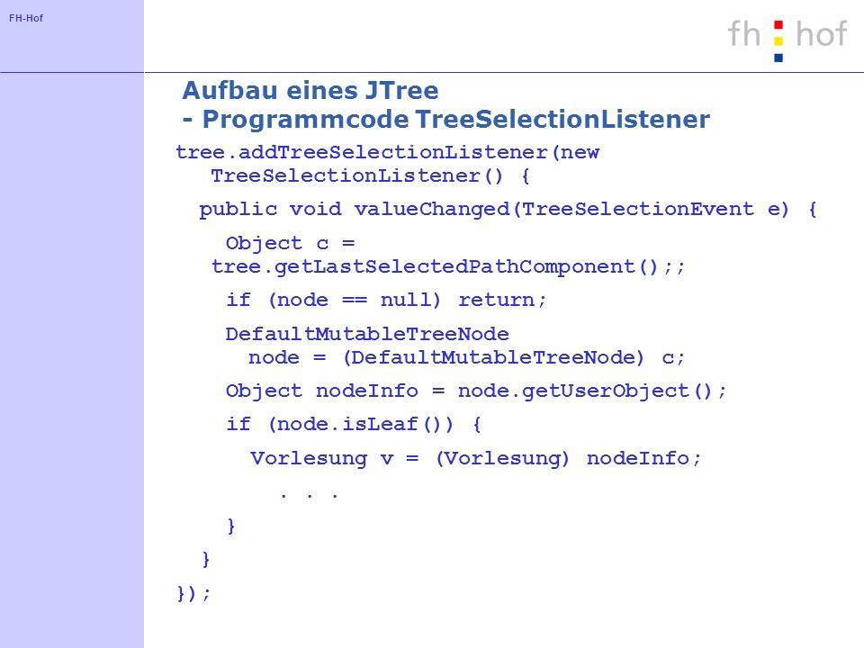 Aufbau eines JTree - Programmcode TreeSelectionListener