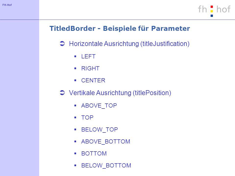 TitledBorder - Beispiele für Parameter