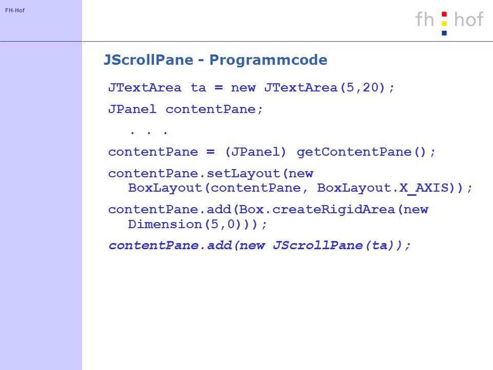 JScrollPane - Programmcode