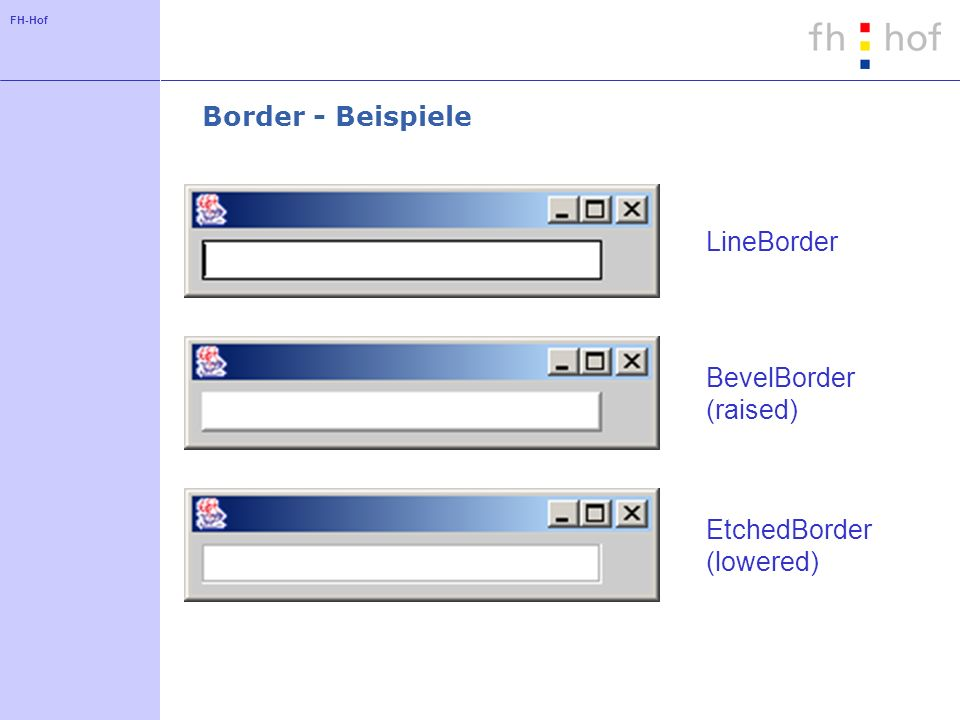 Border - Beispiele LineBorder BevelBorder (raised) EtchedBorder (lowered)