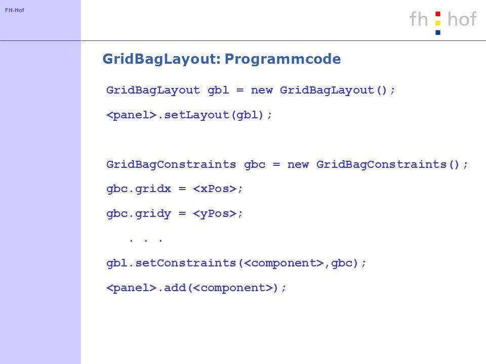 GridBagLayout: Programmcode