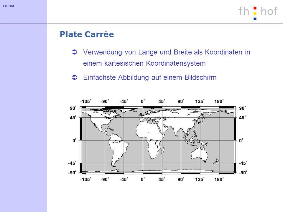 Plate Carrée Verwendung von Länge und Breite als Koordinaten in einem kartesischen Koordinatensystem.