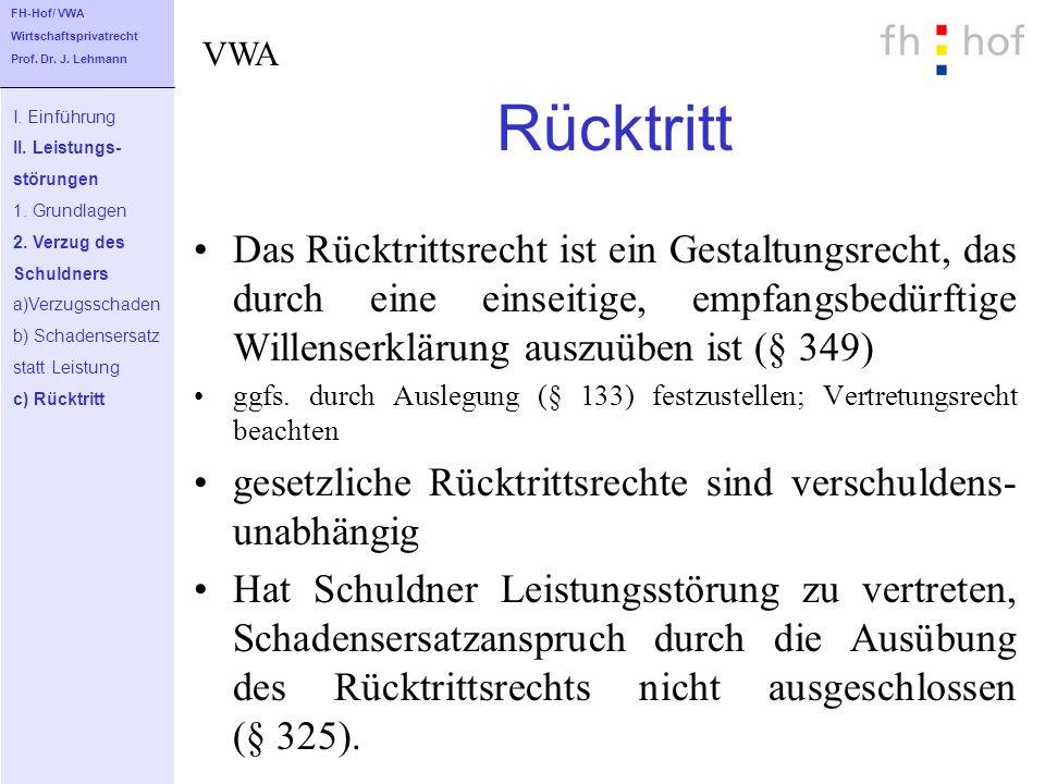 FH-Hof/ VWA Wirtschaftsprivatrecht. Prof. Dr. J. Lehmann. VWA. Rücktritt. I. Einführung. II. Leistungs-